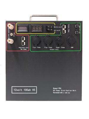 Nomad 100AH Lithium Power Distribution Unit 11kg with free 240V charger and built in solar regulator
